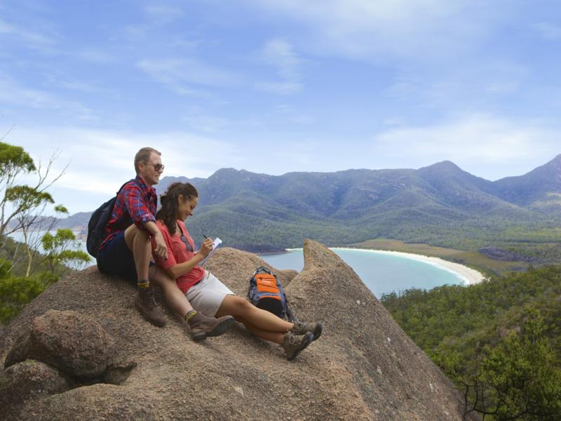 Wineglass Bay, Freycinet, Tasmania, from Mt Amos on the Wineglass Bay Track